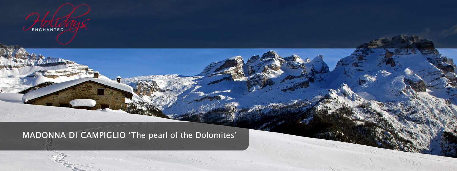 Footprints in the snow in the Dolomite Mountains near Madonna di Campiglio