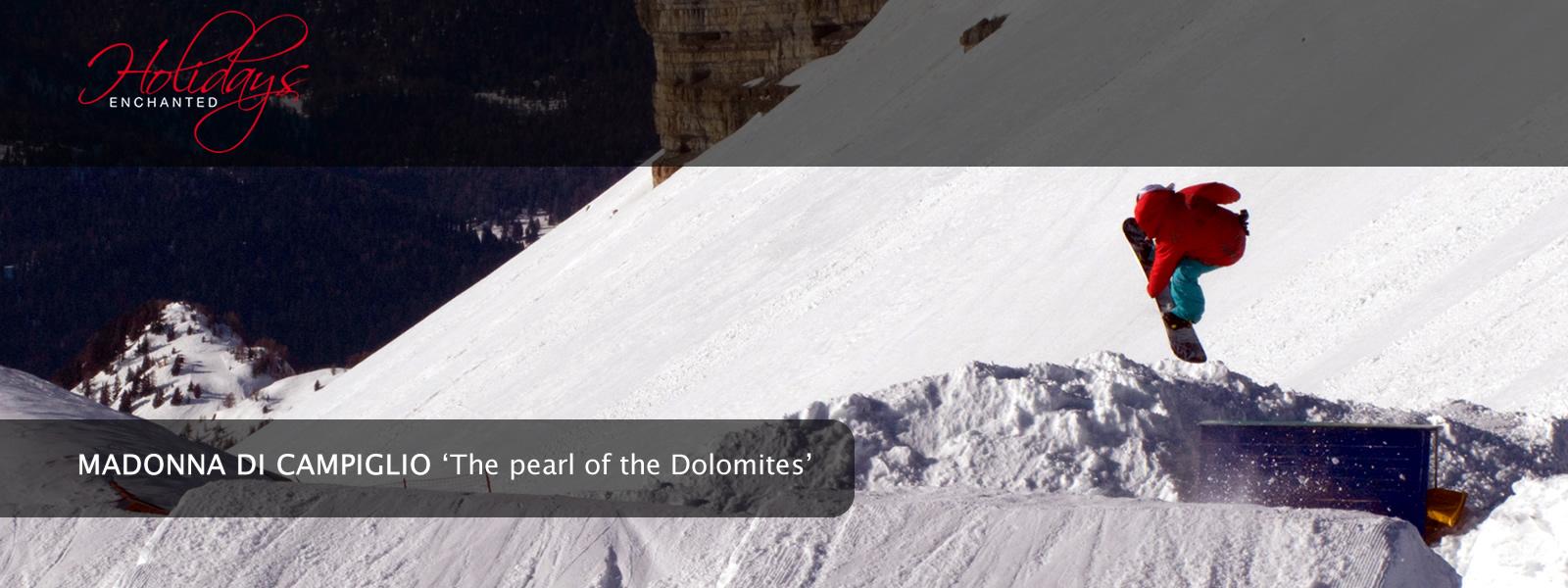 Snowboarding at Ursus Snowpark in Madonna di Campiglio