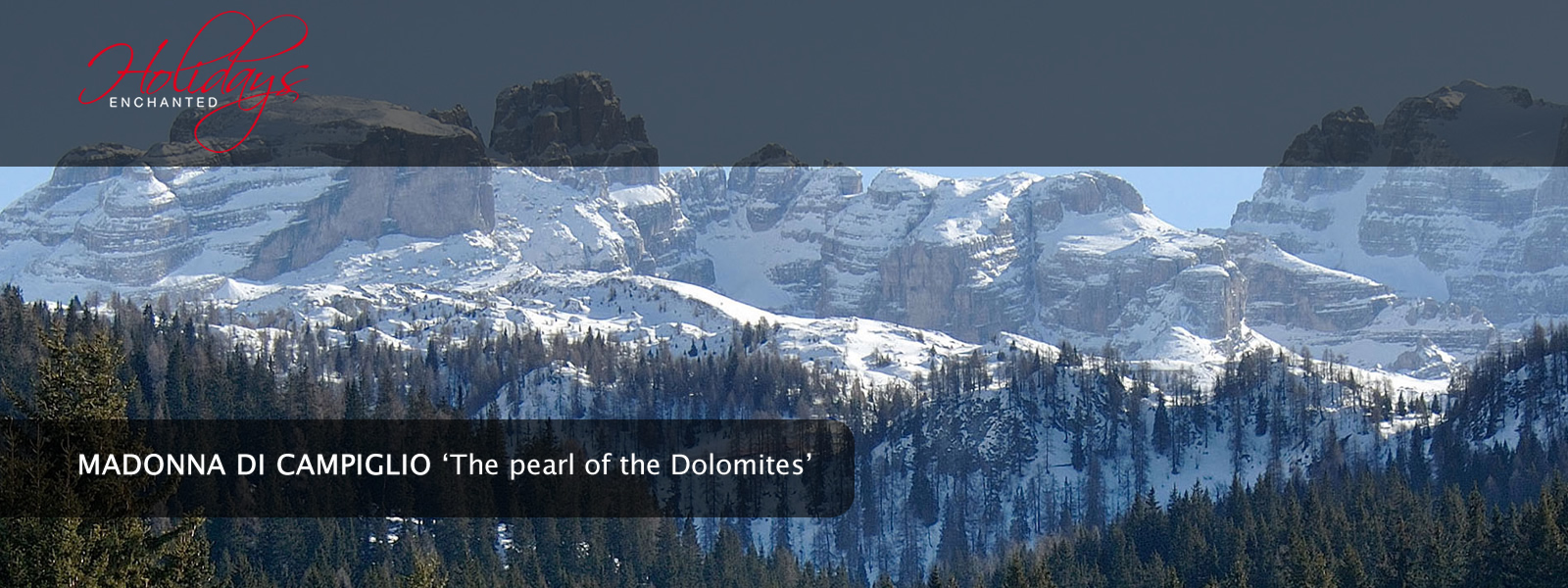 The snowcapped Dolomites through the trees at Madonna di Campiglio